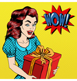 Woman with Gift Excited Woman with Present Pop Art vector image