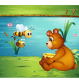 A bear and a bee at the riverbank vector image vector image