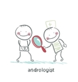 andrologist looking through a magnifying glass on vector image vector image