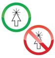Arrow cursor permission signs set vector image vector image
