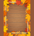 autumn leaves golden frame wooden background vector image vector image