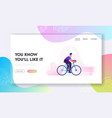 bicycle eco transport website landing page man vector image vector image