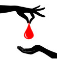 blood donation concept drop blood hold in hand vector image vector image