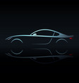 blue light silhouette sport car vector image vector image