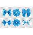 blue satin bows silk ribbon bows with vector image vector image