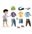 boy fashion set different clothes vector image