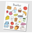 breakfast doodles lined paper colored vector image vector image