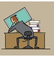 Businessman working at a computer curve posture vector image
