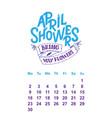 calendar for april 2 0 1 8 hand drawn vector image vector image