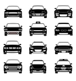 Cars in front view black icons vector image vector image