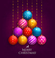christmas tree made of hanging baubles vector image