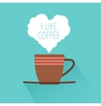Coffee cup with shadow and heart vector image