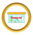 Coins in donate box icon vector image vector image