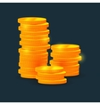 columns of coins on black background vector image vector image