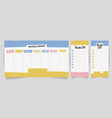 cute calendar daily and weekly planner template vector image vector image