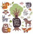 cute cartoon and wild woodland animals and forest vector image
