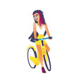 cycling young girl with long hair isolated on vector image
