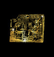 egypt golden bas-relief isolated vector image