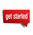 get started red 3d realistic paper speech bubble vector image vector image