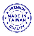 grunge blue premium quality made in taiwan round vector image vector image