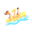 happy three friends have fun on inflatable rubber vector image