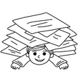 Happy young boy littered with paper sheets vector image