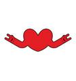 heart rock logo rock and roll hand musical emblem vector image vector image