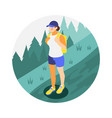 hiking woman icon vector image