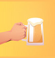 human hand holding beer mug oktoberfest party vector image
