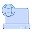 internet on laptop flat icon notebook with planet vector image vector image