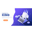 isometric web banner typewriter with a crown and vector image vector image