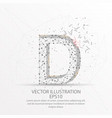 letter d form low poly wire frame on white vector image vector image