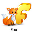letter f is for fox cartoon alphabet vector image