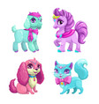 little cute pets icons set vector image vector image