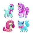 little cute pets icons set vector image