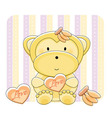 monkey love cartoon vector image vector image
