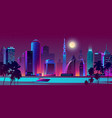 night city on river with boat vector image vector image