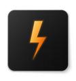 orange glowing lightning bolt icon isolated on vector image vector image