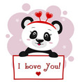 panda with a red rim of hearts holding a plate in vector image