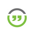 quotation marks combined with line circle vector image