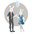 rabbit-boy and rabbit girl vector image vector image