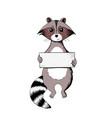 raccoon holding a sign wildlife animal vector image