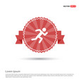 runner icon - red ribbon banner vector image