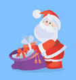santa claus with sack full of gifts cartoon icon vector image vector image