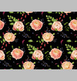 seamless floral pattern pink rose ranunculus vector image vector image