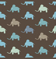 seamless pattern with funny cartoon elephants vector image