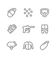 set line icons paintball vector image vector image