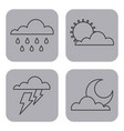 set of climate change clouds sun rain sky vector image