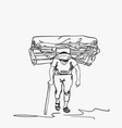 sketch nepali porter carrying full load heavy vector image