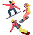 snowboarding women icon set winter sport vector image